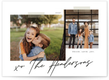 This is a black and white holiday photo card by That Girl Press called Snapshots with standard printing on signature in grand.
