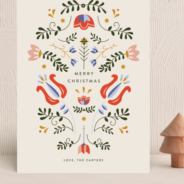 """Scandinavian Folk Card"" - Vintage Grand Holiday Cards in Cream by Molly Mortensen."