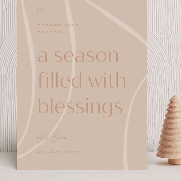 """""""Season of Blessings"""" - Modern Grand Holiday Cards in Winter Rose by Blustery August."""