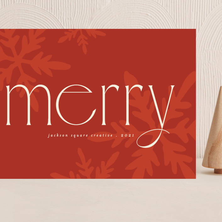 """""""Snowflakes"""" - Vintage Grand Holiday Cards in Poinsettia by Morgan Kendall."""