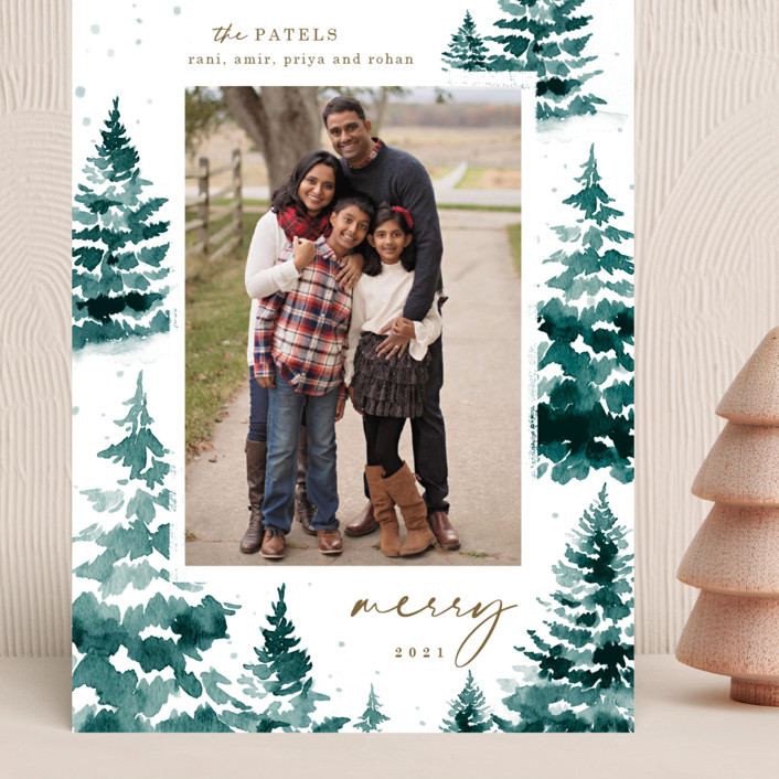 """in the snowy woods"" - Grand Holiday Cards in Blue Spruce by Helen Halik."