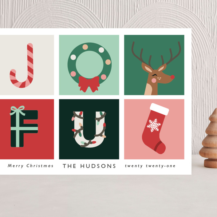 """Joyful"" - Modern Grand Holiday Cards in Candy by Caitlin Considine."