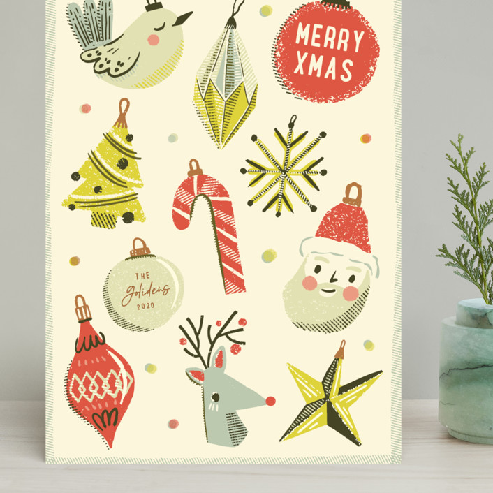 """""""Retro Ornaments"""" - Vintage Grand Holiday Cards in Berry by Vivian Yiwing."""