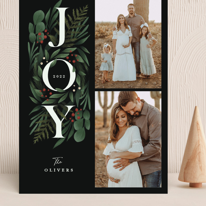 """""""Luxe Foliage"""" - Grand Holiday Cards in Berry by Grae."""