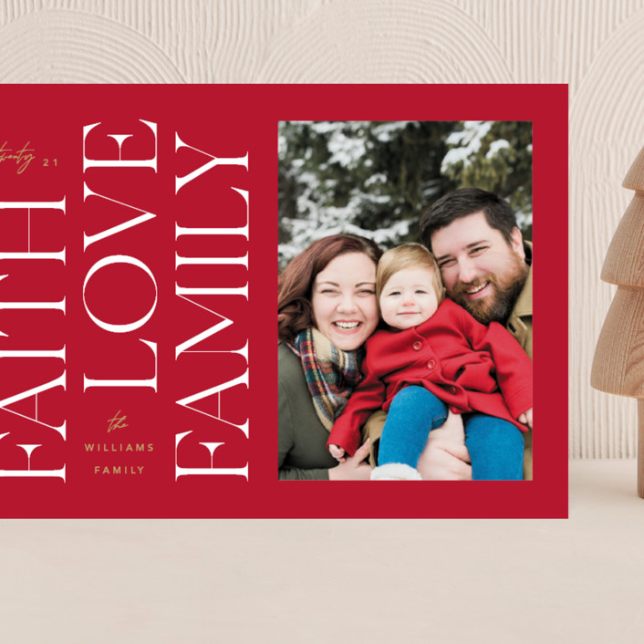 """""""Faith & Love & Family"""" - Grand Holiday Cards in Berry by Robert and Stella."""