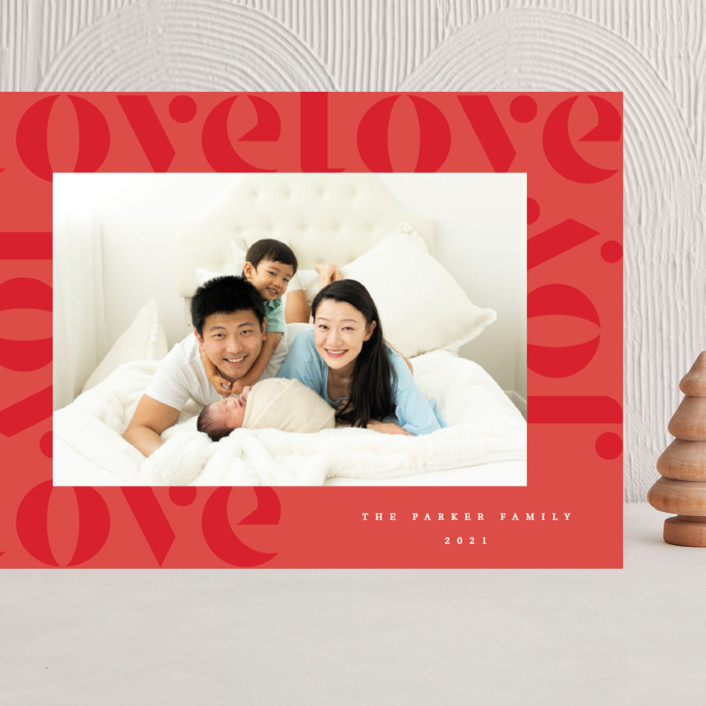 """""""Love Joy"""" - Grand Holiday Cards in Holly Berry by Kann Orasie."""
