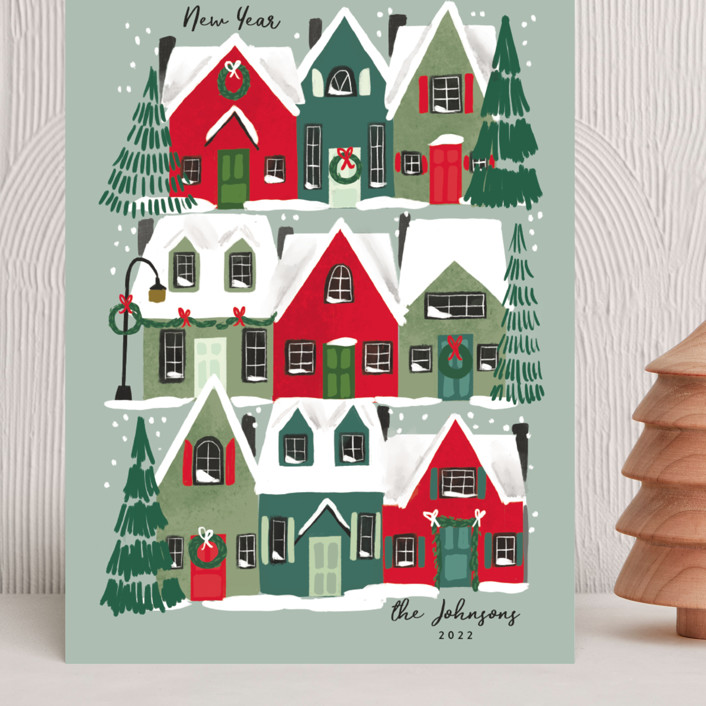 """Holiday Home"" - Grand Holiday Cards in Juniper by Rebecca Durflinger."