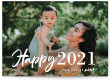 This is a white holiday photo card by Chryssi Tsoupanarias called New Year XOXO with standard printing on smooth signature in grand.