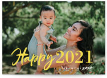This is a yellow holiday photo card by Chryssi Tsoupanarias called New Year XOXO with standard printing on smooth signature in grand.