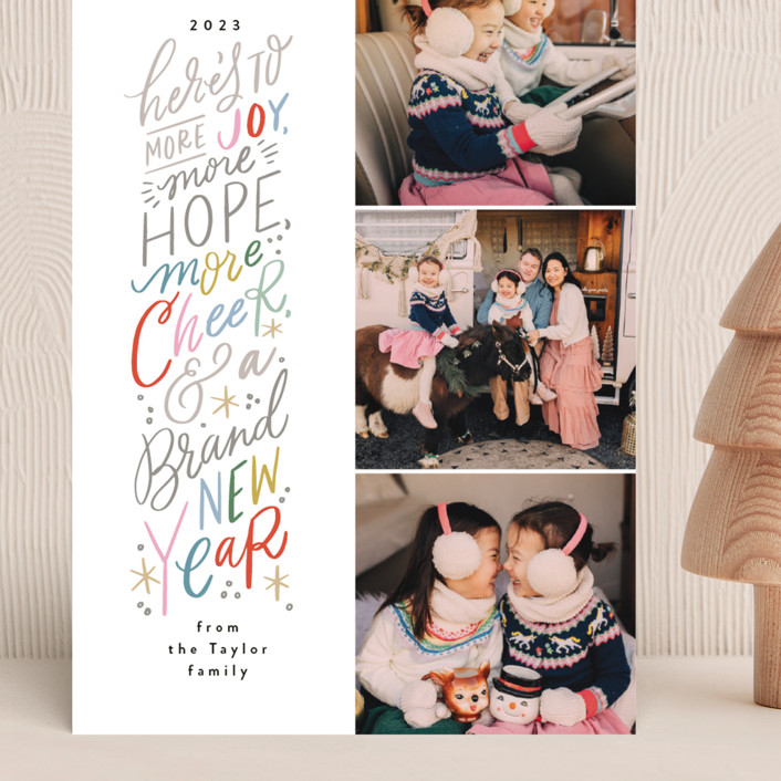 """""""More New Year"""" - Bohemian Grand Holiday Cards in Pomegranate by Alethea and Ruth."""
