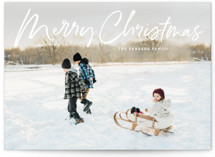 This is a white holiday photo card by Baumbirdy called marker script with standard printing on smooth signature in grand.