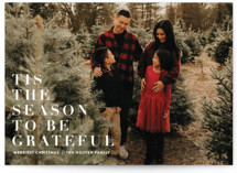 This is a white holiday photo card by Angela Marzuki called to be grateful with standard printing on smooth signature in grand.