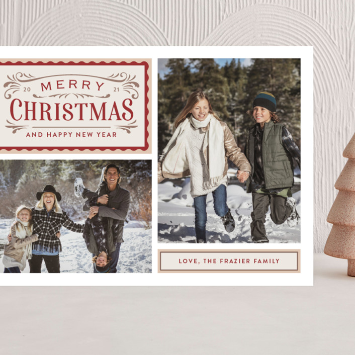 """""""Vintage Labels"""" - Vintage Grand Holiday Cards in Cream by Jill Means."""