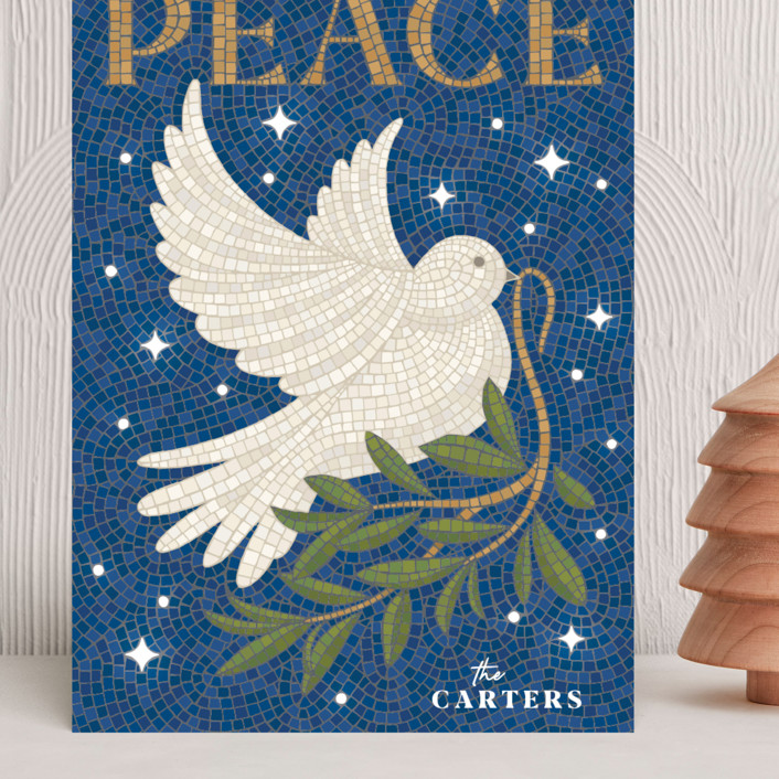 """""""Mosaic Of Peace"""" - Bohemian Grand Holiday Cards in Navy by GeekInk Design."""