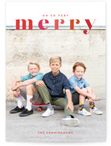 This is a red holiday photo card by Shari Margolin called Color Me Merry with standard printing on signature in grand.