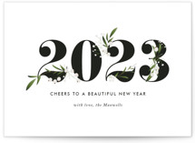 This is a black holiday photo card by Jennifer Postorino called Adorned Year with standard printing on signature in grand.