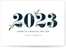 This is a blue holiday photo card by Jennifer Postorino called Adorned Year with standard printing on pearlescent in grand.
