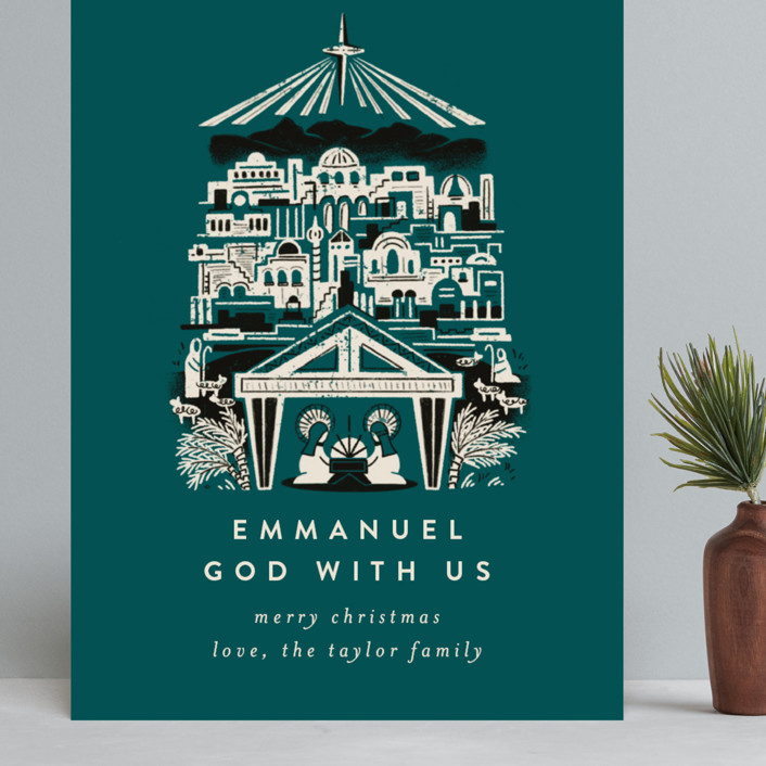 """Mod Bethlehem Manger"" - Grand Holiday Cards in Teal by Shiny Penny Studio."