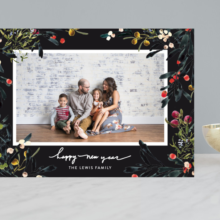 """""""Winter Floral Garden"""" - Grand Holiday Cards in Midnight by Kelly Ventura."""