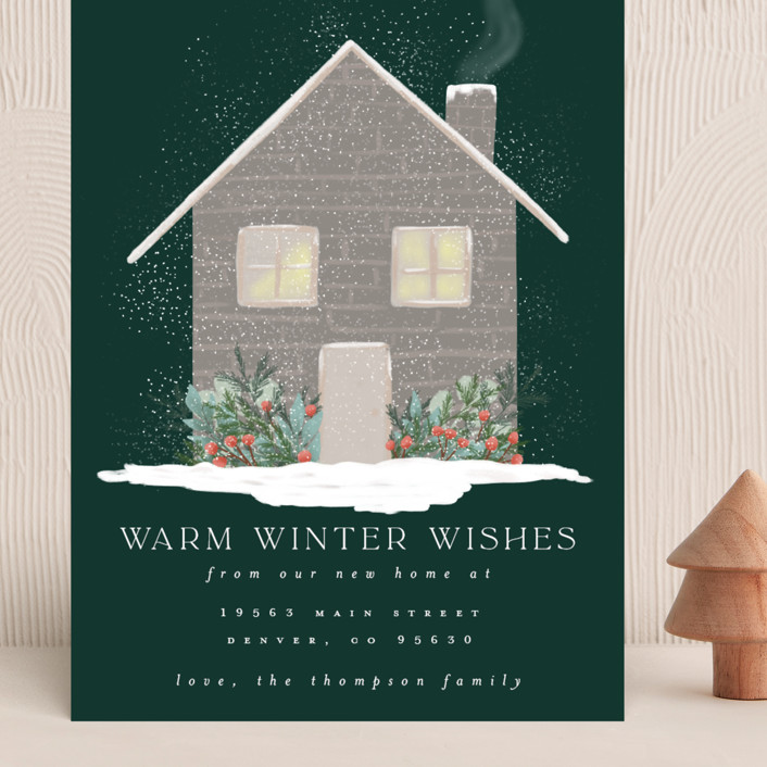 """""""Warm Winter Wishes"""" - Vintage Grand Holiday Cards in Pine by Ashlee Townsend."""