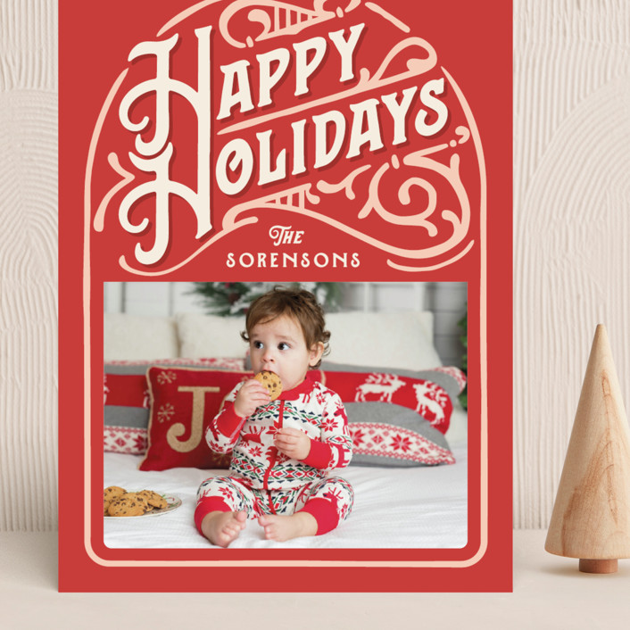 """""""Holiday Vintage"""" - Vintage Grand Holiday Cards in Candy Cane by GeekInk Design."""