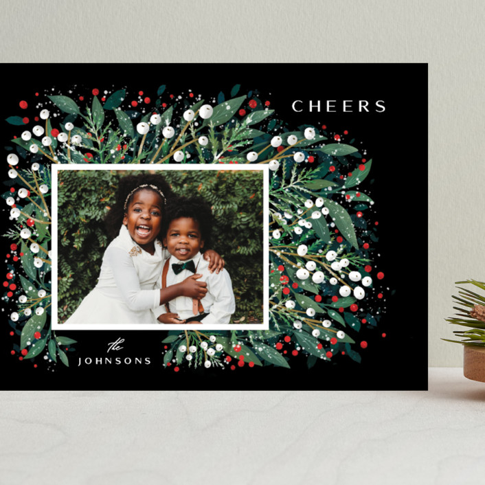 """First Flakes"" - Grand Holiday Cards in Berry by Ana Sharpe."
