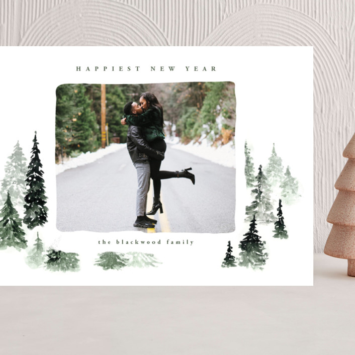 """fall of snow"" - Bohemian Grand Holiday Cards in Evergreen by Anastasia Makarova."