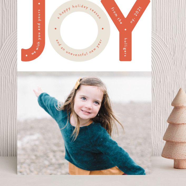 """Capital Joy"" - Modern Grand Holiday Cards in Peppermint by Gwen Bedat."