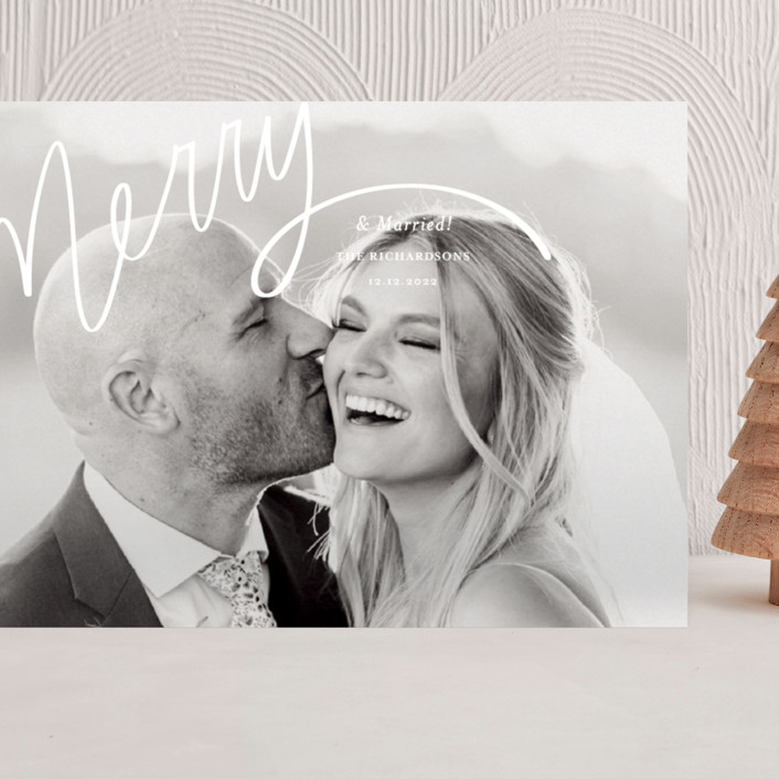 """""""Merry Hand Lettered Script"""" - Modern Grand Holiday Cards in Wedding Cake by Becky Nimoy."""