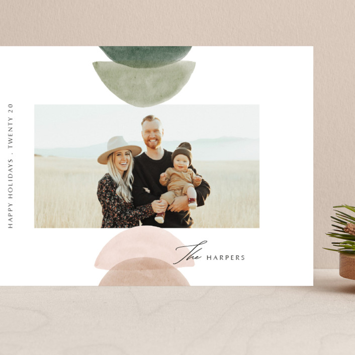 """""""Shapes"""" - Modern Grand Holiday Cards in Cactus by Elly."""