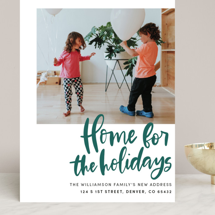 """""""Home Sweet Holiday Home"""" - Grand Holiday Cards in Leaf by Vine and Thistle."""