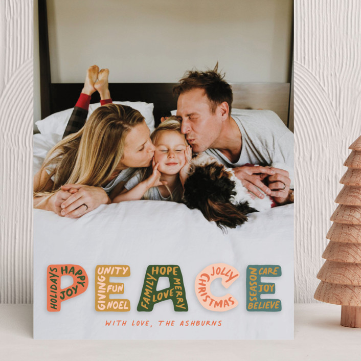 """""""Peaceful Words"""" - Grand Holiday Cards in Earthy by GeekInk Design."""