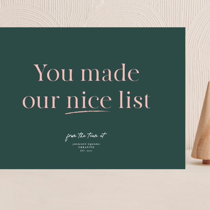 """""""Nice List Approved"""" - Funny Grand Holiday Cards in Wreath by Caitlin Considine."""