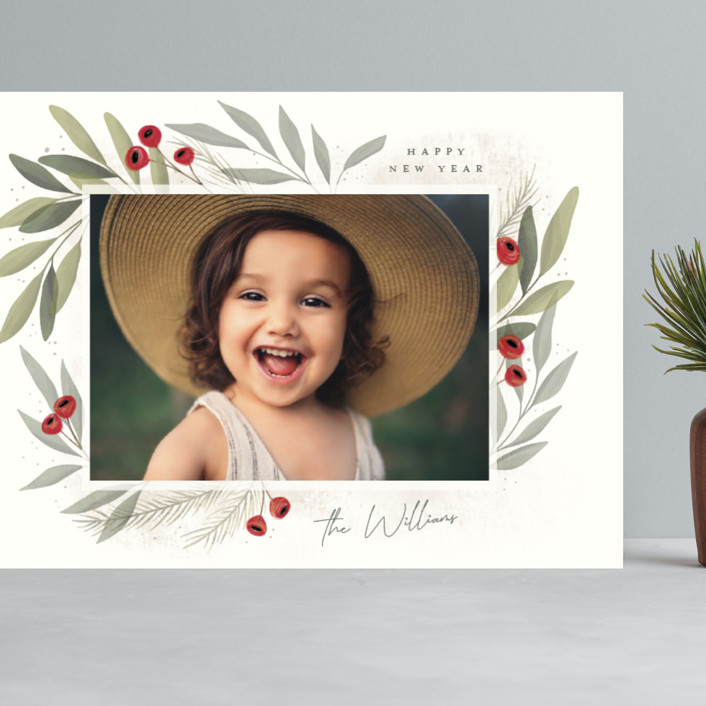 """Merry Botanical"" - Grand Holiday Cards in Pearl by Cindy Reynolds."