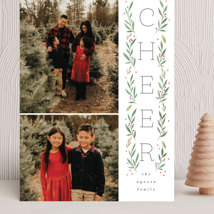 """""""Vertical Boughs"""" - Grand Holiday Cards in Holly by Everett Paper Goods."""