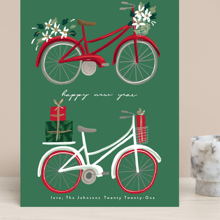 """""""merry bikes"""" - Grand Holiday Cards in Evergreen by Rebecca Durflinger."""