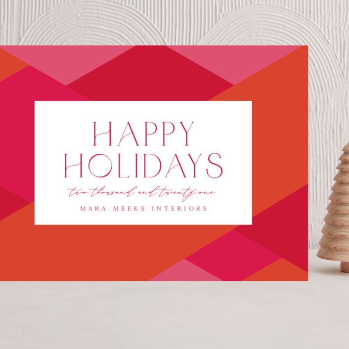 """""""Bright Geometrics"""" - Vintage Grand Holiday Cards in Punch by Olivia Raufman."""