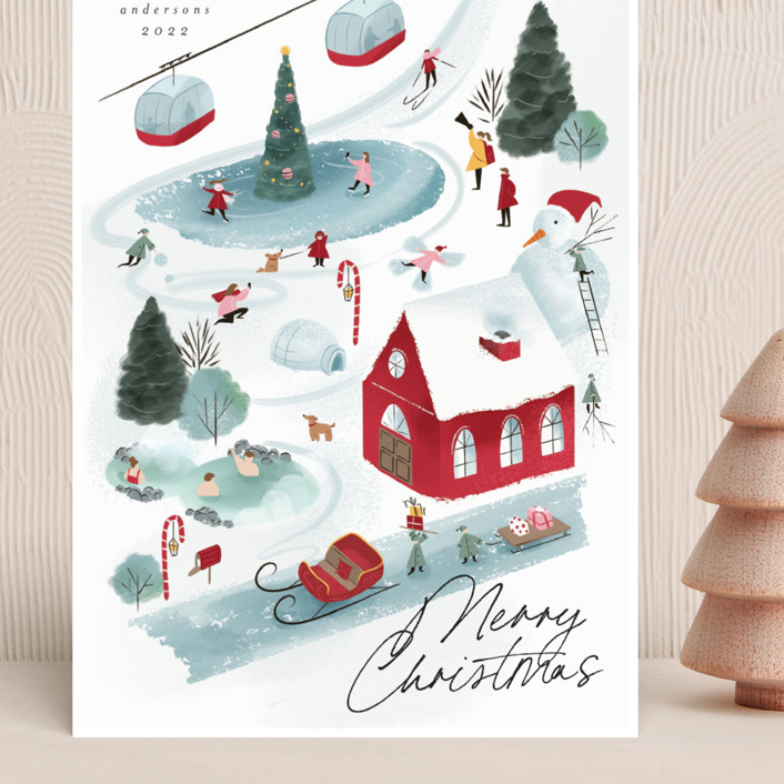 """""""North Pole Resort"""" - Vintage Grand Holiday Cards in Gumdrop by Grae."""