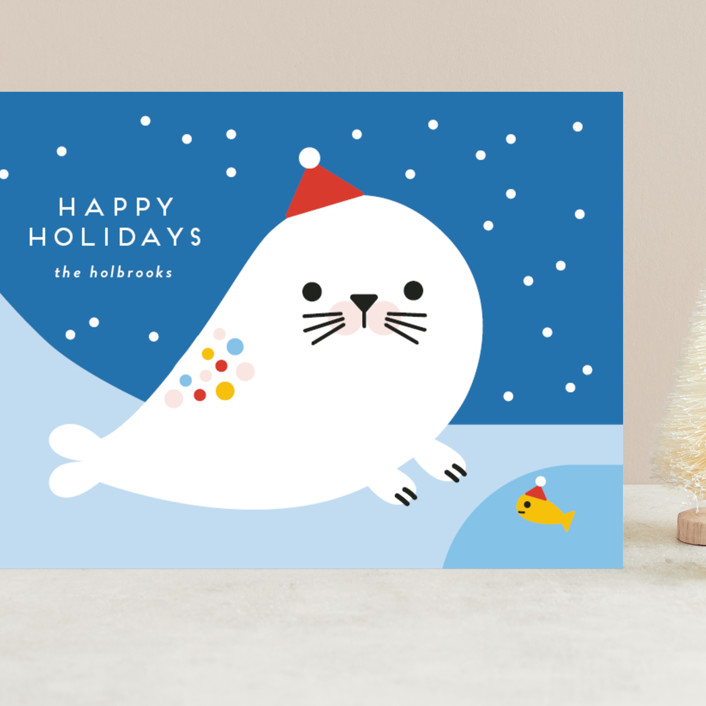 """""""Rainbow Seal"""" - Grand Holiday Cards in Frozen by Genna Blackburn."""