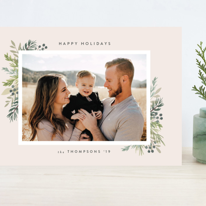 """Natural Foliage"" - Grand Holiday Cards in Petal by Itsy Belle Studio."