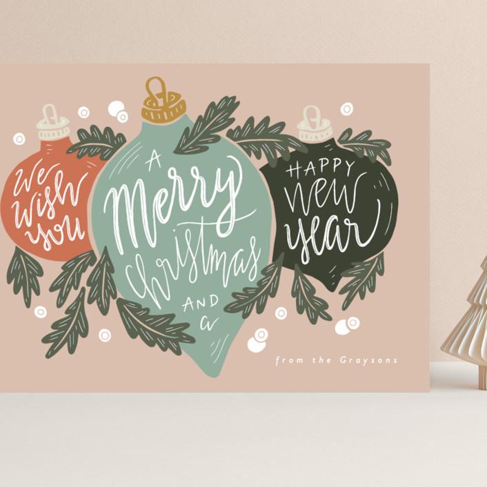 """""""Ornament Trio"""" - Grand Holiday Cards in Juniper by Gratia Design Co.."""