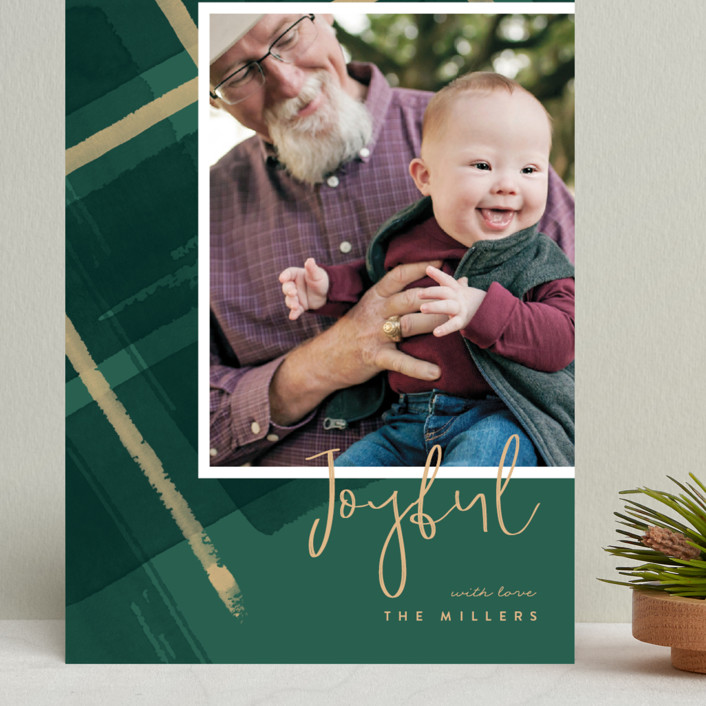 """Painted Holiday Plaid"" - Grand Holiday Cards in Christmas Tree by Four Wet Feet Studio."