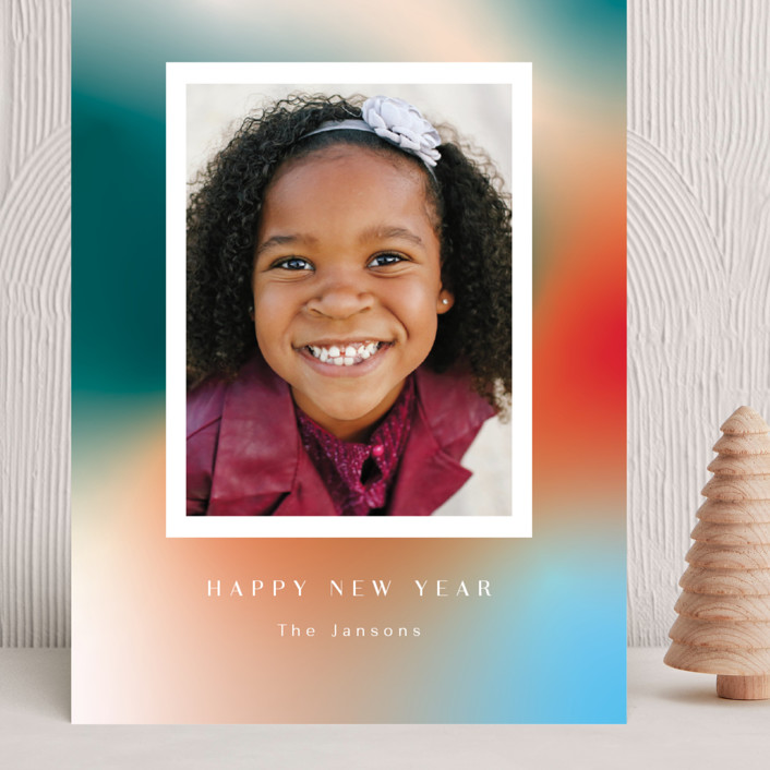 """Glowy new year"" - Grand Holiday Cards in Celestial by Yaling Hou Suzuki."