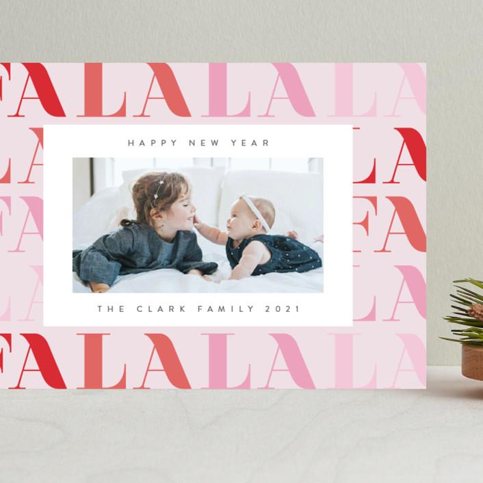 """""""Pretty Fa La La"""" - Modern Grand Holiday Cards in Candy by Ana Sharpe."""
