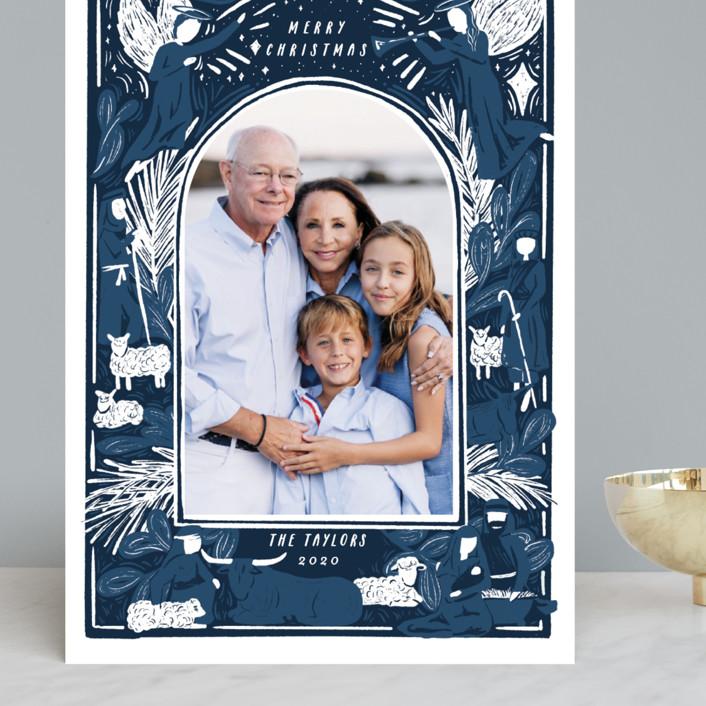 """Woodblock Nativity Frame"" - Bohemian Grand Holiday Cards in Navy by Shiny Penny Studio."