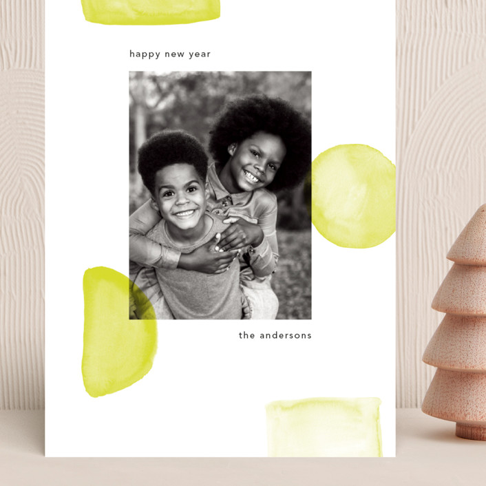 """""""Neon New Year"""" - Modern Grand Holiday Cards in Lime by Caitlin Considine."""