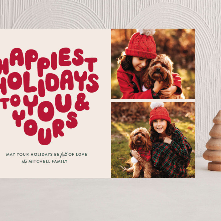 """""""HOLIDAY HEART"""" - Vintage Grand Holiday Cards in Candy Cane by The Social Type."""
