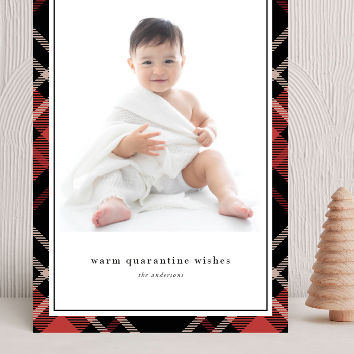 """Joyful Plaid"" - Grand Holiday Cards in Scarlet by That Girl Press."