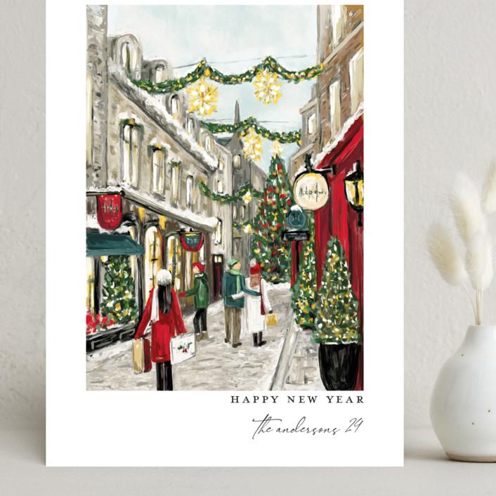 """City Sidewalks"" - Grand Holiday Cards in Crimson by Susan Moyal."