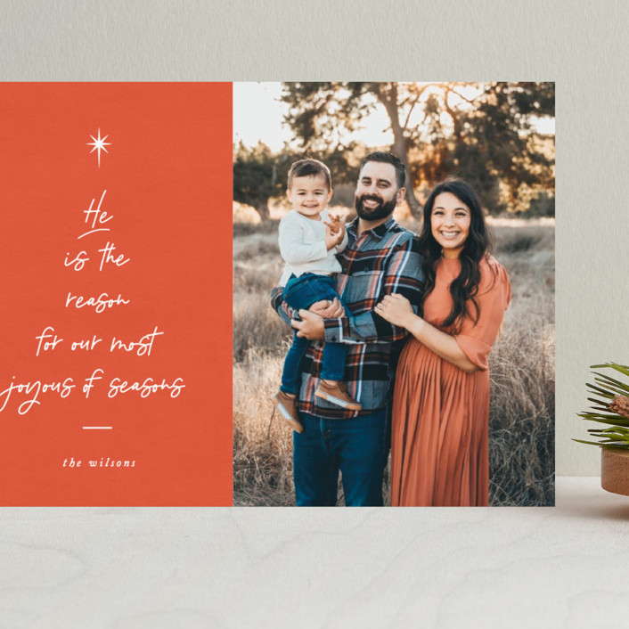 """""""He is the Reason"""" - Modern Grand Holiday Cards in Tangerine by Catherine Culvenor."""